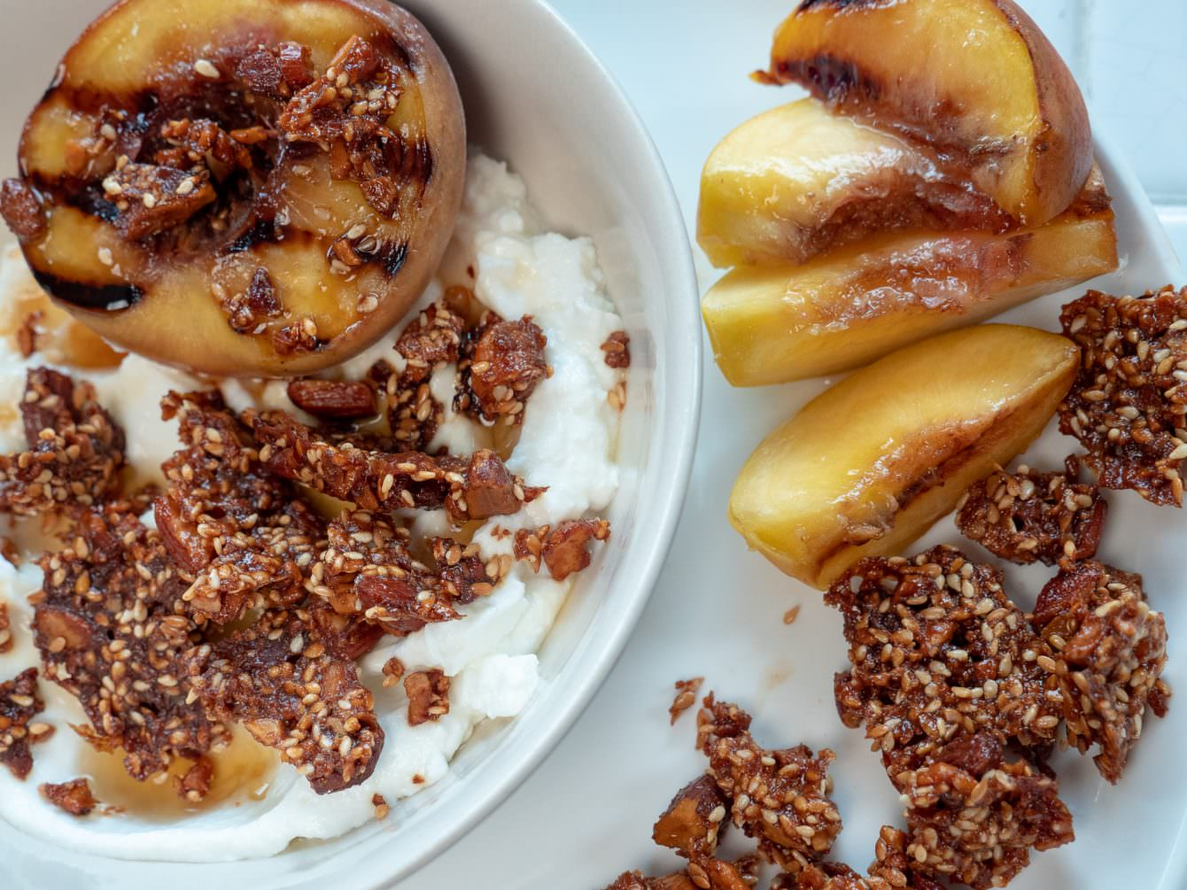 cW Recipes: Grilled Peaches with Pistachio + Sesame Clusters