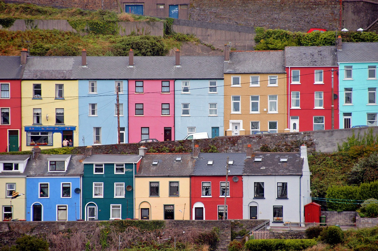 row of colored houses