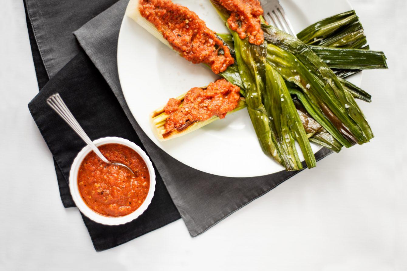 Spain: Roasted Leeks with Romesco Sauce
